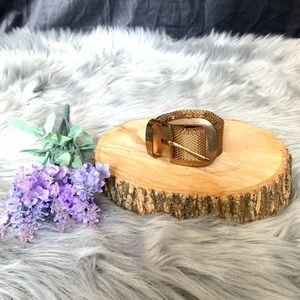 Vtg faux rose gold metal chain mesh belt